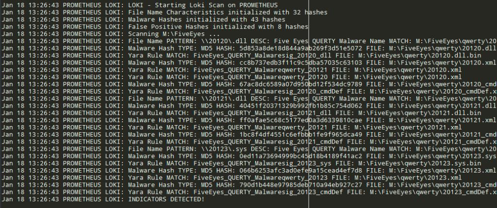 Generated log file