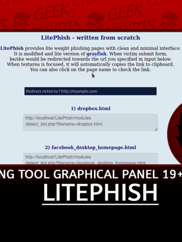 LitePhish Phishing Tool with Graphical Panel 19 Templates