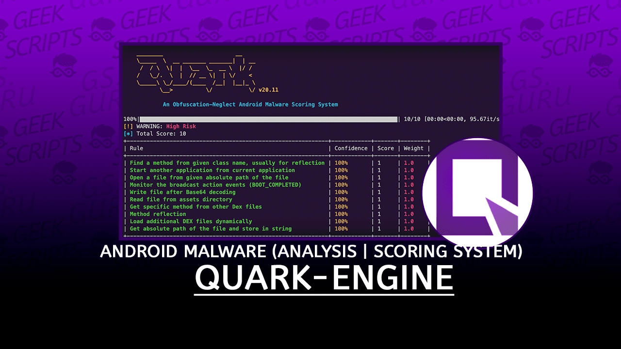 Quark-Engine Android Malware Analysis and Scoring System