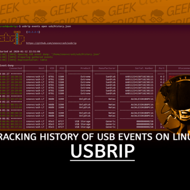 USBRIP Tracking History of USB Events Linux