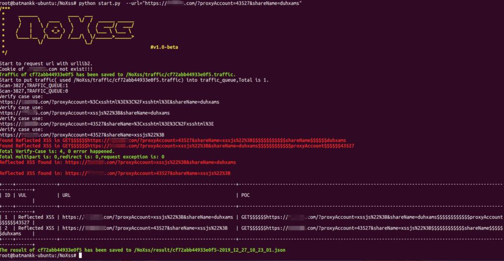 Screenshot of NoXss