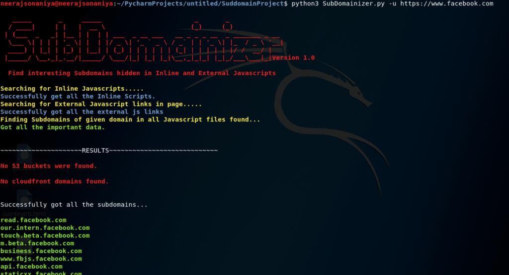 Screenshot of SubDomainizer