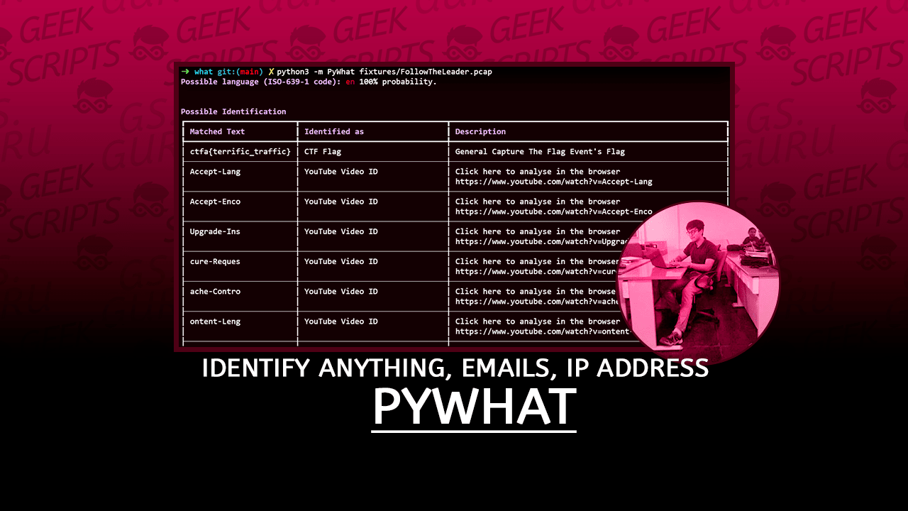 pyWhat Identify Anything, Emails, IP addresses