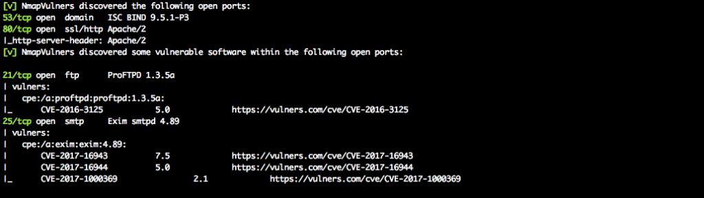 Nmap vulners scan results by Raccoon