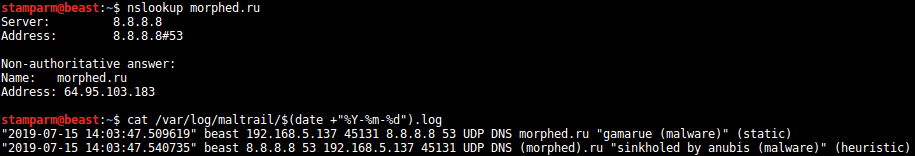 Capturing of DNS traffic test for maltrail