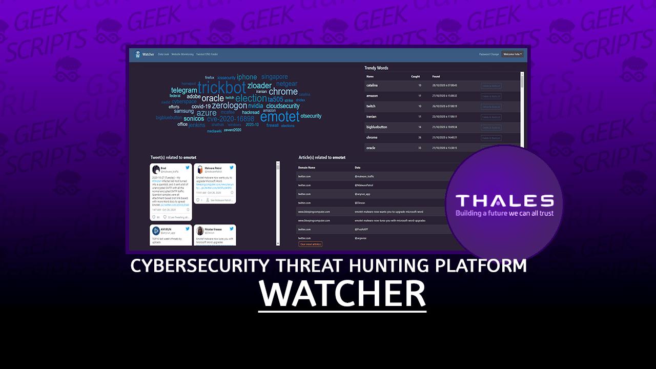 Watcher Open Source Cybersecurity Threat Hunting Platform